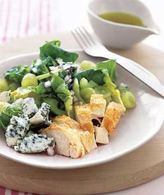 10 Recipe Ideas for Rotisserie Chicken -- love this one with a lighter blue cheese