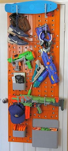 So Nice we did this and skate board shelves combo in the boys room all theirs nerf guns are up off the floor!!