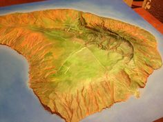 Cool map of the island of Lana'i, on display at the Lana'i Culture and Heritage Center. Lana'i City is pretty much in the middle; the swimming beach and small boat harbor are at 4 o'clock. Lanai Island, Romantic Woman, Heritage Center, Small Boats, Whale Watching, 3 D, Middle, Clock, Swimming