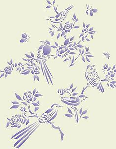 Small Chinoiserie Birds Stencil Not a silhouette but pretty and I'll probably be able to find it best on this board. Stencil Patterns, Stencil Designs, Embroidery Patterns, Bird Stencil, Stencil Art, Damask Stencil, Stenciling, Handmade Wallpaper, Inkscape Tutorials