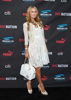 Paris Hilton Cocktail Dress - Paris Hilton showed her sweeter side with this zip-front lace LWD at the Roc Nation pre-Grammy brunch.