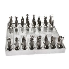 Art Deco Polish Silver Traveling Chess Set | From a unique collection of antique and modern games at http://www.1stdibs.com/furniture/more-furniture-collectibles/games/
