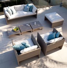 Terra Sofa armchair, armchair 196cm, pouf and matching coffee table collection TERRA SOFA design outdoor furniture by Tribù