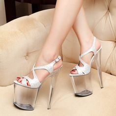 Platform: about cm. Heel Height: about 15 cm. we wish you get it safely quickly and approvingly. Shaft Height: about cm. Peep Toe Shoes, Shoes Heels, Pretty Sandals, Women's Pumps, Stilettos, Super High Heels, Round Toe Pumps, Silver Shoes, Fashion Sandals