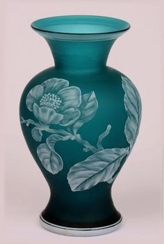 Stevens and Williams Cameo Vase in Dark Teal with Wild Roses 1900 Fenton Glass, Glass Ceramic, Art Nouveau, Art Of Glass, Carnival Glass, Antique Glass, Colored Glass, Pots, Stained Glass