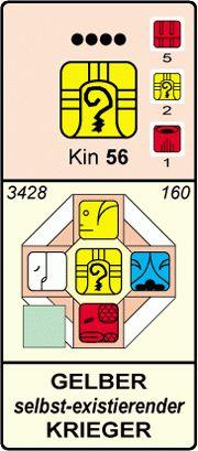 KIN 56 - Gelber Selbstbestehender Krieger- Energiekalender n. Kössner - Herzensleben