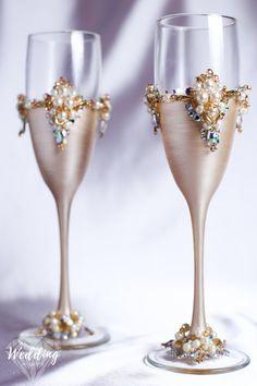 Personalizada boda marfil oro gafas por WeddingArtGallery en Etsy