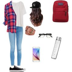 regular school outfit by gomezpaulian on Polyvore featuring polyvore fashion style Fine Collection Frame Denim Converse JanSport Samsung Black Rivet