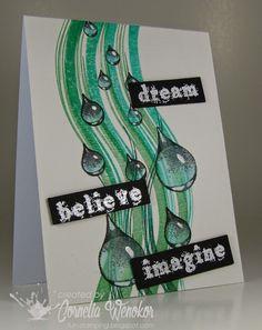 Card made with Designsbyryn.com Raindrop Set stamps, by Cornelia Wenokor