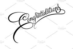 Congratulations calligraphy. Vector. Script Fonts