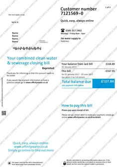 Personal Utility Bill, Customer Number, Bank Statement, Water Supply, Names, Templates, Stencils, Vorlage, Models