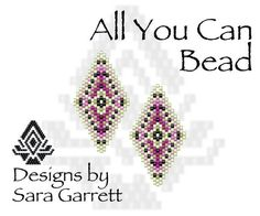 PATTERN ONLY. Create these beautiful peyote earrings. Delica Beads. Odd count with 6 bead colors. 19 bead columns by 27 bead rows. 1 wide by 1.89 long. Pattern includes a pattern preview, full bead legend, colored bead graph, complete word graph. Note: I choose the color palette that