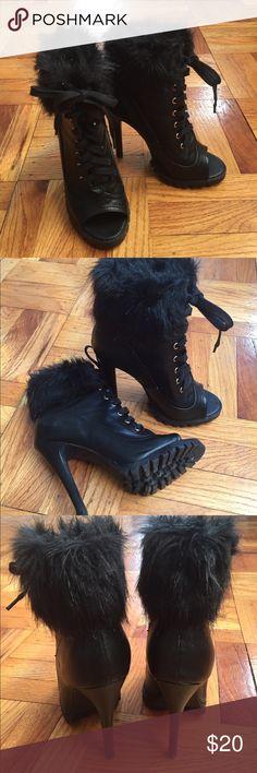 Black peep toe ankle boots Fur trimmed black peep toe ankle boots by Scene from ShoeDazzle. Shoe Dazzle Shoes Ankle Boots & Booties