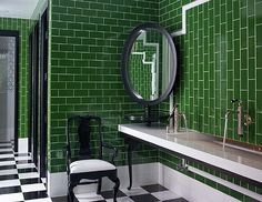 A Kelly Wearstler bathroom. Kelly green subway tiles