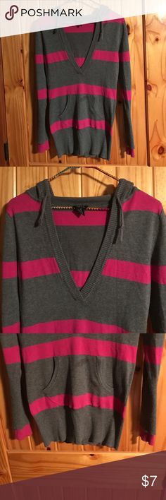 Pink and Gray Hoodie Super soft pink and gray hoodie. Small mark on pocket Rue 21 Tops Sweatshirts & Hoodies
