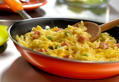 Ham and Cheese Hash Browns. Frozen hash browns and a can of Cheddar cheese soup help to make this flavorful dish easy and delicious! This is a great way to use up leftover ham. #ham #cheese #hashbrown #cheddar #breakfast #brunch #recipe