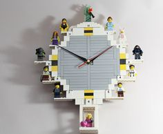 #LEGO Clock w/ minifig stands.
