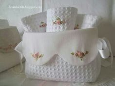 ~ Waffle and Pique fabrics embroidered with pink bullion roses. Maybe a guest towels and holder. Silk Ribbon Embroidery, Cross Stitch Embroidery, Hand Embroidery, Machine Embroidery, Handmade Crafts, Diy And Crafts, Sewing Crafts, Sewing Projects, Fabric Boxes