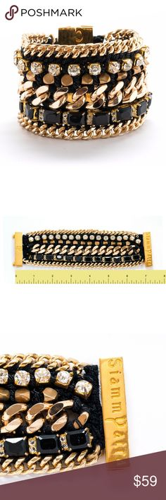 """NEW HANDMADE Black & Gold Magnetic Bracelet New! One-of-a-kind Handmade Punk Rock Black & Gold Magnetic Bracelet - Approx. Length: 7.5"""", Width: 2"""" Strong Black Italian Yarn Knitting with Rhinestone and Good Quality Gold Tone Chain.  Magnetic closure fastening. Come with a beautiful gift box to store your bracelet after using. Independent Designer Brand - SiammPatra Jewelry Bracelets"""