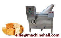 Automatic Fish Tofu Frying Machine For Sale|Fish Meat Fryer Machine  http://www.fried-machinery.com/products/pasta-snacks-fryer/fish-tofu-fryer.html Email:ellie@machinehall.com