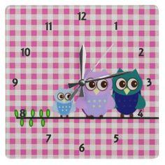 Owls Family Wall Clock by elenaind