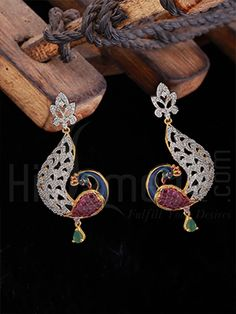Earring with Designer Enamel and CZ Stones