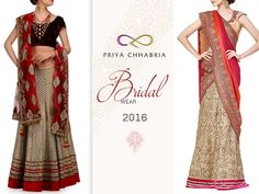A collection of awe-inspiring Bridal Lehengas that make for a perfect addition to your wedding. Bridal wear 2016 by Priya Chhabria. #priyachhabria #womenswear #lehenga #inspiring #bride #lehengas #designerwear #bespoke #weddingseason #indianstyle #indianwedding #tradition #trendy #indianbride #shoponline #indianwear #wedding #indianstyle