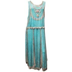 Preowned 1920s Beaded Aqua Flapper Dress ($1,800) ❤ liked on Polyvore featuring dresses, multiple, silver beaded dress, collar dress, blue collared dress, gatsby dress and silver flapper dress