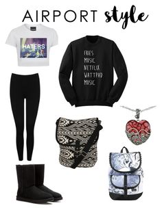 """""""Airport style"""" by winter116 ❤ liked on Polyvore featuring M&Co, UGG Australia, Pilot, Disney and Lord & Taylor"""