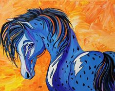 Title:  Cadet The Blue Horse   Artist:  Janice Rae Pariza   Medium:  Painting - Acrylic On Gallery Wrap Canvas