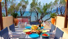 Sea Front Beautiful Villa Estia with Jacuzzi at Chania Prefecture Beautiful Villas, Outdoor Furniture Sets, Outdoor Decor, Crete, Jacuzzi, Patio, Vacation, Beach, Home Decor