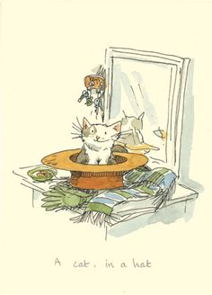 M157 CAT IN A HAT  a Two Bad Mice Greeting Card by Anita Jeram