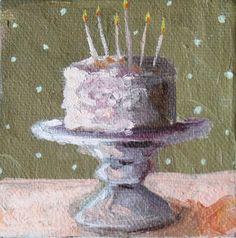 Tiny Original Oil Painting Cake Pedestal Polka Dot by TheFarmhousePorch, $65.00