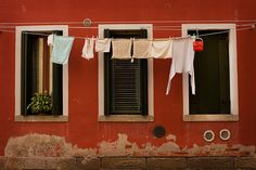 laundry and a red house