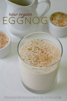 RAW VEGAN EGGNOG       3/4 c. raw cashews, soaked for 2-3 hours      2 c. water      1 frozen banana      2 Tbs coconut oil, melted      1 Tb agave nectar      1 tsp vanilla extract      1 tsp ground nutmeg      1/2 tsp cinnamon