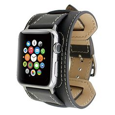 Apple Watch Band, Wearlizer Genuine Leather Watch Strap Replacement w/ Metal Clasp for Apple Watch all Models Cuff Design - Grey: Cell Phones & Accessories - FeedPuzzle Gold Apple Watch, Apple Watch Faces, Apple Watch Iphone, Smartwatch, Watch Strap Replacement, Apple Watch Series 2, Leather Watch Bands, Leather Cuffs, Suede Leather