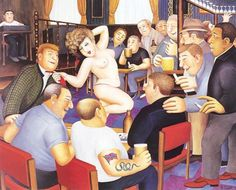 Lunch Time Refreshment ~ Art by Beryl Cook Teaser, Beryl Cook, Plus Size Art, British Schools, Pub, Funny Sexy, English Artists, Thing 1, Chubby Girl
