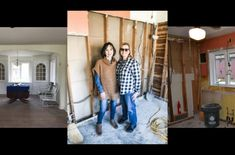 Before photos w Laura and I in the gutted kitchen.  Firehouse Antiques – New Harmony, Indiana