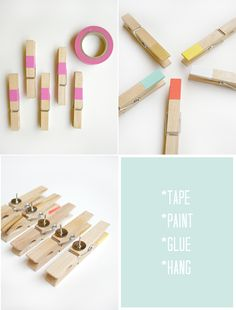 Make your own color-dipped clips and hang photos or holiday cards.