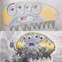 A gallery of the work of French animator Thomas Romain who converts his kids' drawings into awesome anime characters. Thomas Romain, Art Thomas, Badass Drawings, Amazing Drawings, Deco New York, French Anime, Art Sketches, Art Drawings, Illustration Art Drawing