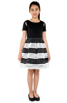 BLUSH by Us Angels Stripe Scuba Fit & Flare Dress (Big Girls) available at #Nordstrom