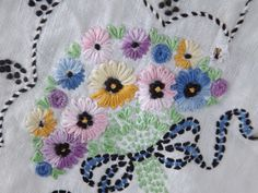 Pocketful of Posies Vintage Embroidered Linen by happycornerstore, $10.00