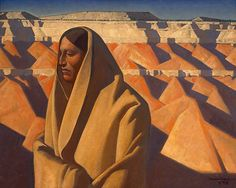"""""""Earth Knower"""" Painting by Maynard Dixon, greatest Southwest Painter.   It is clear that these paintings were conceived in the Painted Desert."""