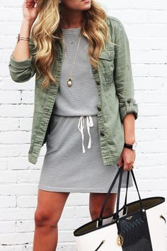 stripes + army shirt / jacket.