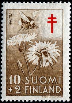 darling white-tailed bumblebees and dandelions stamp issued by Finland in1954