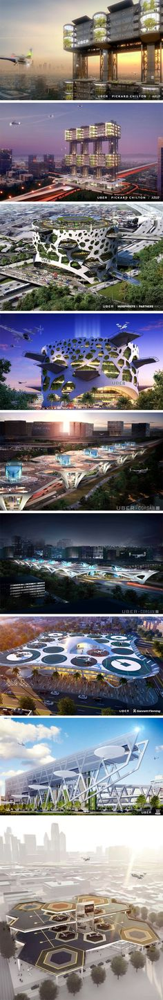 Following UberAir'selectric flying taxi announcementat this year's Elevate summit, Uber also announced it's search for the three cities across the world to help kickstart UberAir. They've even given us a taste at what UberAir's Skyports will look like, lavish buildings with the appearance of a 5-star resort, but with eVTOL airships constantly making entries and exits. The buildings will feature multiple helipads and hangars, carrying patrons over long distances.