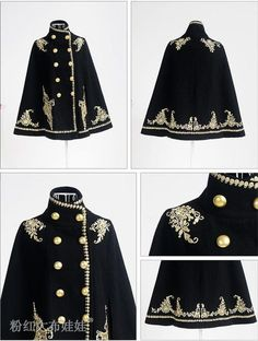 kind of want because it looks so royal even though I probably wouldn't wear it outside . - The wolf that kills Wool-Blend Double-Breasted Embroidered Cape Jacket - Dabuwawa Cool Outfits, Fashion Outfits, Womens Fashion, Mode Lolita, Estilo Lolita, Diy Kleidung, Character Outfits, Gothic Lolita, Victorian Gothic