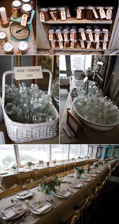 mason jar cocktail/drinking glasses for a wedding or other occasion-organic, rustic and inexpensive-love!