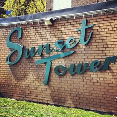 Sunset towers vintage retro sign #typography