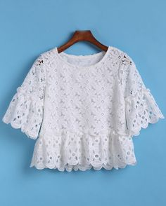 Shop Short Sleeve Hollow Lace Top at ROMWE, discover more fashion styles online. Blouse Styles, Blouse Designs, Girl Fashion, Fashion Outfits, Womens Fashion, Mode Top, African Fashion Dresses, Blouse Online, Trendy Tops